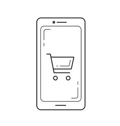 mobile shop line icon vector image