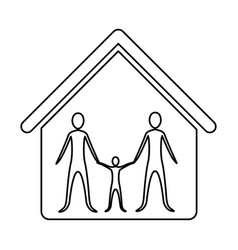 Monochrome contour of family group in home vector