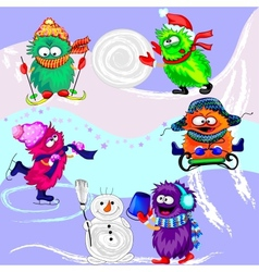 Monsters Winter Sports vector image