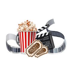 Movie cinema poster popcorn tape tickers vector