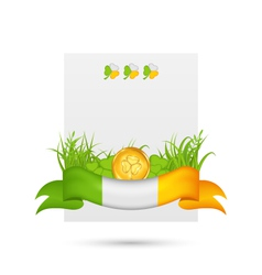 natural card with coin clovers grass and ribbon vector image