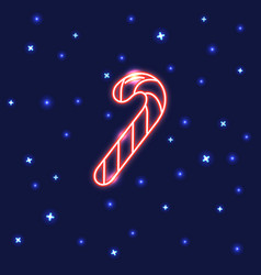 neon christmas candy cane icon in line style vector image