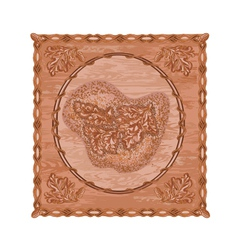 Oak leaves and acorns woodcarving hunting theme vector