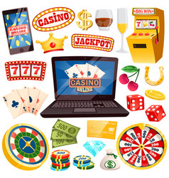 Online casino with all kinds of gamblings set vector