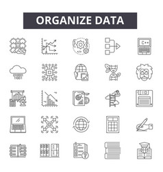 organize data line icons signs set vector image