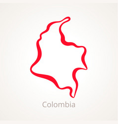Outline map colombia marked with red line vector