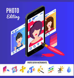 photo editing tools for social media networks vector image