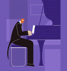 pianist poster advertising flat colored banner vector image