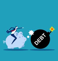 piggy bank pushing debt financial concept vector image