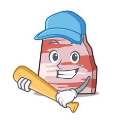Playing baseball pork lard character cartoon vector
