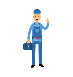 Professional plumber character in a blue overall vector