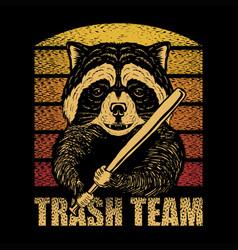 Raccoon stick baseball retro vector