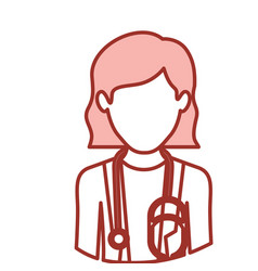 Red contour of half body of faceless female doctor vector