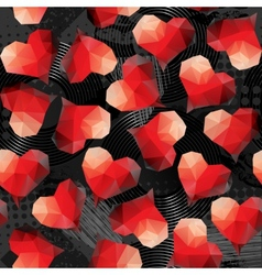 Red hearts on grunge black background vector image