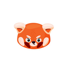 Red panda head as sad emoji angry emoticon vector
