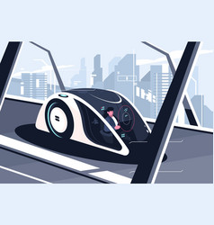relaxed man driving by smart car vector image