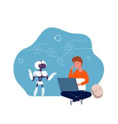 Robotics for children boy programming robot vector