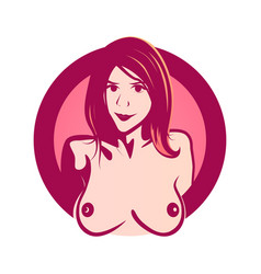round emblem with naked young woman with vector image