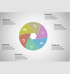 Round infographic template with hexagonal vector