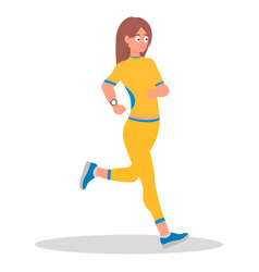 running girl runyoung white girl runningsporty vector image