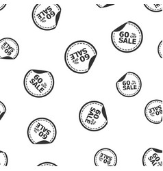 Sale 60 percent off sticker seamless pattern vector
