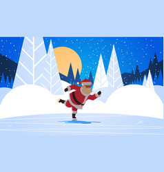 santa claus skating merry christmas happy new year vector image