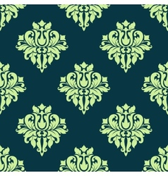 seamless damask lush flowers pattern in green vector image