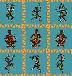 seamless pattern dancing african aborigines vector image