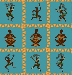 Seamless pattern of dancing African aborigines vector image vector image