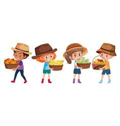 Set different children holding fruit basket vector