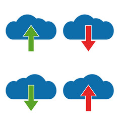 Set download and upload cloud icon vector