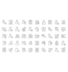 Set line icons online medical consultation vector