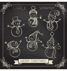 Set of chalk snowmen vector