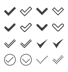 Set of simple icons ticks check marks vector image