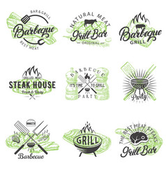 Set vintage bbq badges labels logos vector