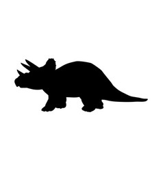 silhouette triceratops dinosaur jurassic vector image