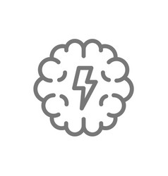 simple brain and mind line icon symbol and sign vector image