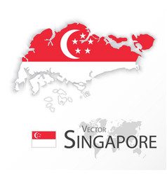 Singapore map and flag vector