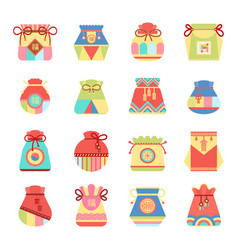 Small authentic bags with ethnic patterns set vector