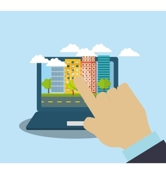 Smart city laptop building icon vector image
