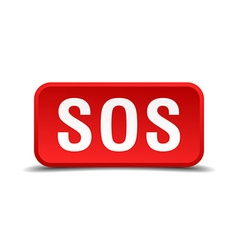 Sos red 3d square button isolated on white vector