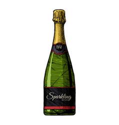 sparkling wine bottle vector image