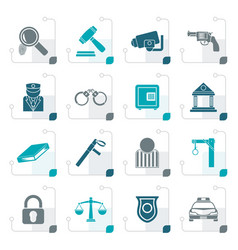 stylized law police and crime icons vector image