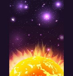 sun with rays in space with stars background vector image