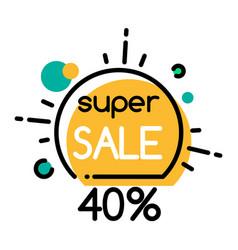 Super sale 40 percent off promo banner for season vector