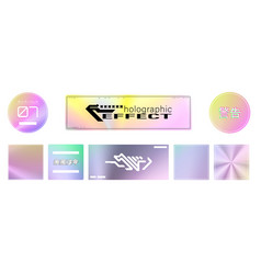 trendy stickers with effect glitter holographic vector image