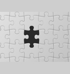 White jigsaw puzzle with missed piece solution vector
