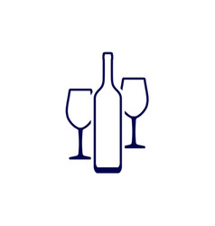 wine bottle and two wine glasses that standing vector image