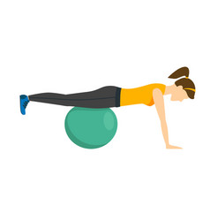 woman making right exercise with fitness ball vector image