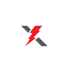 X letter lightning logo template vector